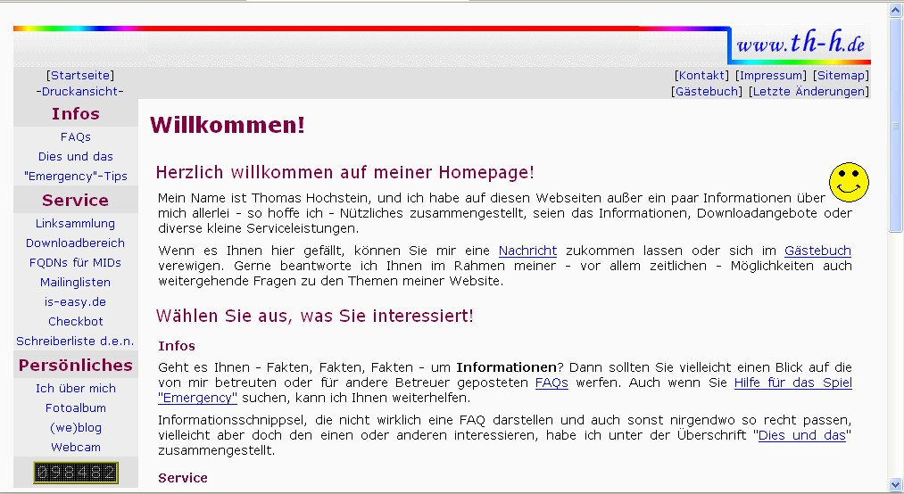 Screenshot von th-h.de, Version 3.x
