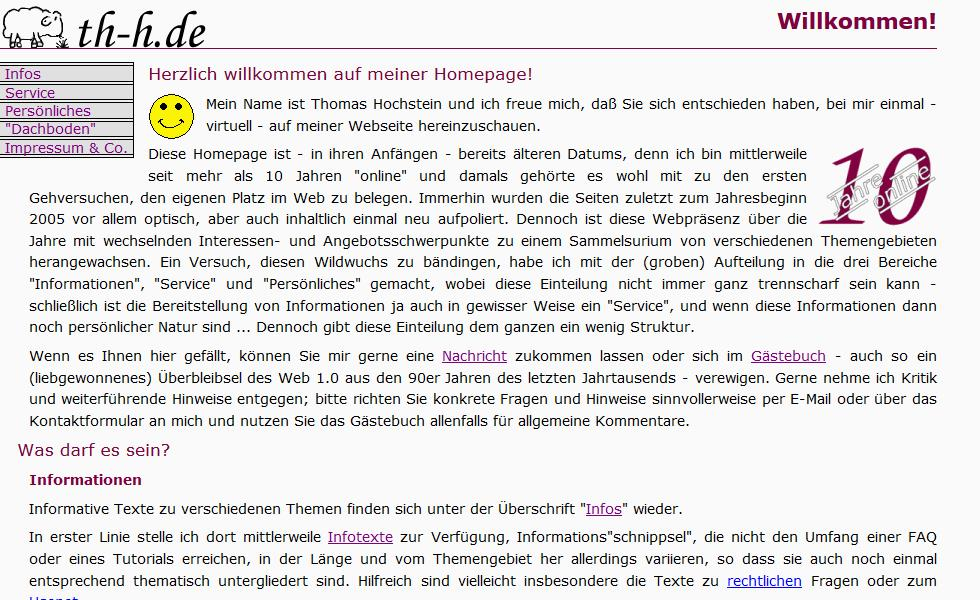 Screenshot von th-h.de, Version 4.x
